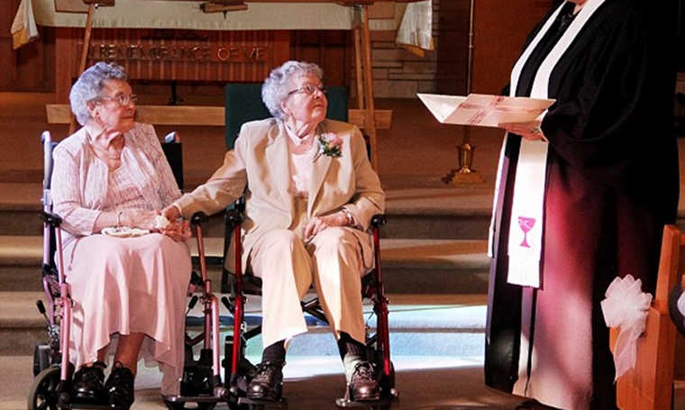 women get married after 72 years together